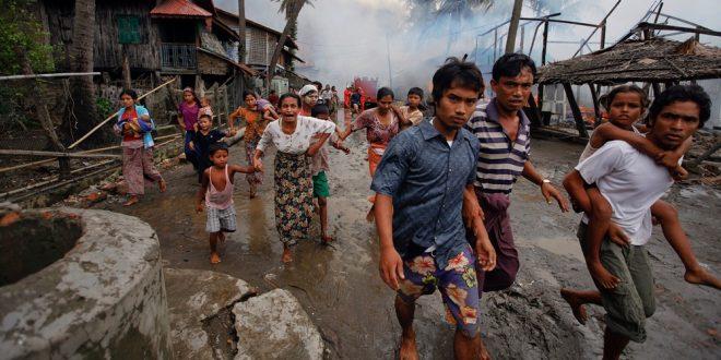 Konflik yang terjadi di Rakhine yang memakan korban kemanusiaan warga rohingya. Foto via KBK