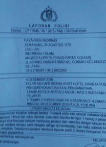 Laporan Polisi atas Nama Fayakhun Andriadi. Foto IST