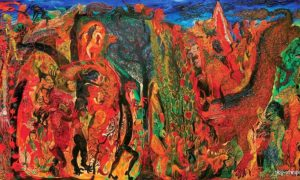 Mitos dan Legenda Alas Pasetran Gondo Mayit by Nasirun, 200cm x 400cm , oil on canvas, 2002/Foto: Dok. blog-senirupa.blogspot.com