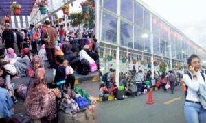 Penumpang Menunggu Keberangkatan Kereta di Stasiun Senen/Foto Adhon/NUSANTARAnews