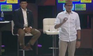 Sandiaga dalam acara debat kandidat Pilkada DKI di Djakarta Theater, Jakarta Pusat, Kamis (15/12) malam/Foto via KOMPAS TV (@KompasTV)