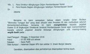 Surat imbauan dari Kementerian Sosial (Kemensos) untuk para pegawainya supaya ikut Aksi 412 besok. Foto Dok. Pribadi