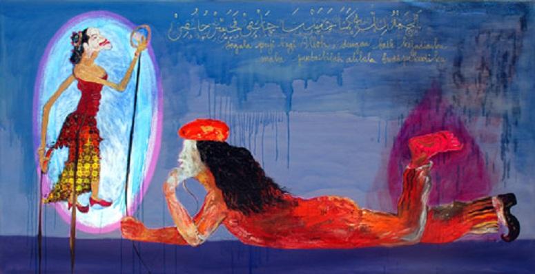 """Lukisan """"Ngilo"""", 300x150cm, 2009, karya Nasirun/Foto: Dok. Pendopo Oejank Indro"""