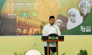 Menag Lukman saat sambutan pada Halaqah Ulama 'Refleksi 33 tahun Khittah NU' di PP Salafiyah Syafiiyah Situbondo/Foto: Dok. Humas Kemenag (daniel)