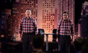 Ahok-Djarot pada #debat1pilkadadki/Foto: Istiemwa ( @jokoanwar)