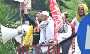 Artis Komedian Kiwil berorasi saat Demo Kawal Rizieq Shihab. Foto Dok. Tempo