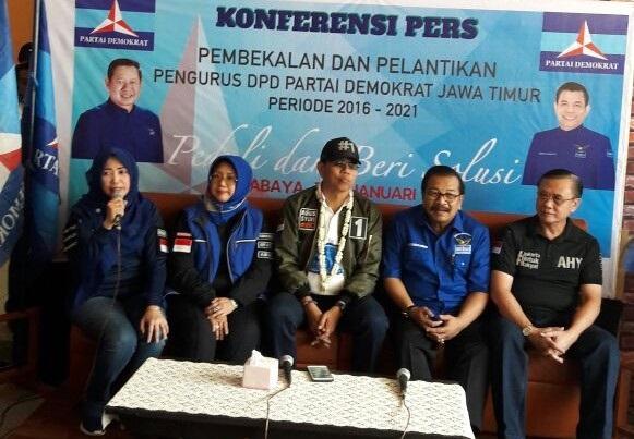 Konferensi pers DPP Partai Demokrat di Surabaya, Sabtu (7/1)/Foto: Three