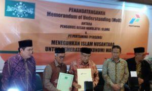 Kerja penandatanganan nota kesepahaman antara PBNU dan Pertamina. Foto Andika/Nusantaranews