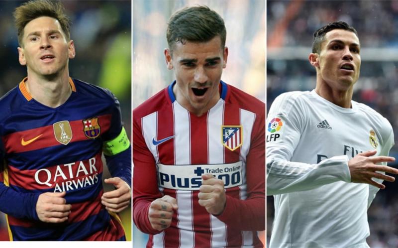 Messi, Griezmen, dan Ronaldo, tiga kandidat peraih pemain terbaik dunia. Foto via sportfaktor