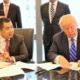 Hary Tanoe dan Donald Trumd dalam sebuah penandatangan Kontrak Kerjasama/Foto: skanaa.com
