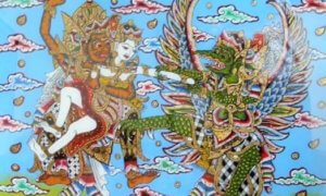 Saat Rahwana menculik Dewi Sinta, perbuatannya ketahuan oleh Jatayu. Jatayu berusaha merebur Dewi Sinta, namun gagal/Foto: pelestarian budaya jawa