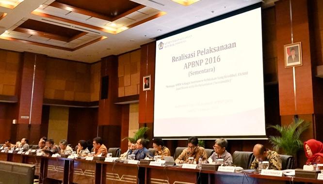 Konferensi pers Realisasi Sementara Ekonomi Makro 2016 yang berlangsung di Aula Djuanda I Kementerian Keuangan, Jakarta (03/01)/Foto: Humas Kemenkeu