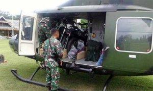 Bantuan Kendaraan Taktis kendaraan motor dengan menggunakan Helikopter Heli Bell 412 guna menunjang operasi Tinombala. Foto Penrem 132 Tadulako
