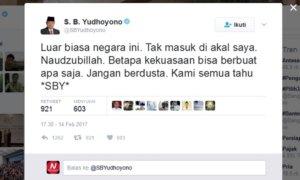 Salah satu tanggapan SBY terhadap pernyataan Antasari /Foto crop via Twitter/NUSANTARAnews