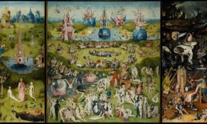 Hieronymus Bosch. The Garden of Earthly Delights. c.1503-1504. Oil on wood, 220x389 cm. Museo del Prado, Madrid, Spain. (w) - Dok. Italian Renaisance Art
