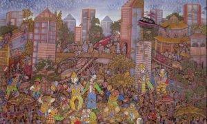 BADUT-BADUT KOTA KITA, karya I Ketut Sadia, ukuran 100x120 cm, media: akrilik di kanvas, tahun 2010/Foto: Dok. artkimianto blog