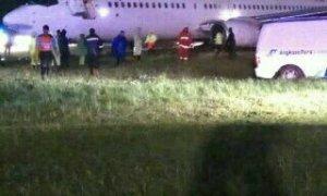 Pesawat Garuda Tergelincir Saat Hendar Mendarat di Bandara Yogyakarta. Foto Eric/Nusantaranews