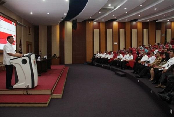 Menko Polhukam RI Jenderal TNI (Purn) Wiranto memberi kuliah umum di UNHAN/Foto: Dok. Humas UNHAN