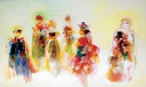 "Lian Sahar, ""Kancah Perlawanan"", 150 x 270 cm, acrylic on canvas, Yogyakarta: 2007/Foto Istimewa"