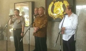 Penandatanganan MoU di Mabes Polri dilakukan oleh tiga pimpinan yakni KPK (Agus Rahardjo), Polri (Jenderal Tito Karnavian) dan Kejagung (HM Prasetyo). Foto Restu Fadilah / NUSANTARAnews