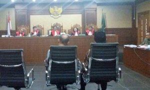 Sidang e-KTP, saksi Markus dan Akom. Foto Restu Fadilah/ NUSANTARAnews