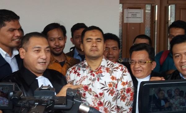 Pedangdut Saipul Jamil di Pengadilan Negeri Jakarta Utara. Foto Restu Fadilah/ NUSANTARAnews