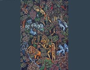 1948: Episode Ramayana, perselisihan Sugriwa dan Subali. Rama akhirnya menewaskan Subali dengan panahnya. Lukisan Ida Bagoes Togog | COLLECTIE TROPENMUSEUM