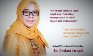 Ketua DPP wanita dari Partai Golkar, Eni Maulani Saragih. Ilustrasi foto: NUSANTARAnews