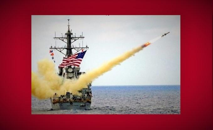 Penembakan 59 rudal Tomahawk Cruise dari USS Porter dan USS Ross ke lapangan udara Sharyat di Homs Barat (Ilustrasi). Foto: Dok. Trump.ma