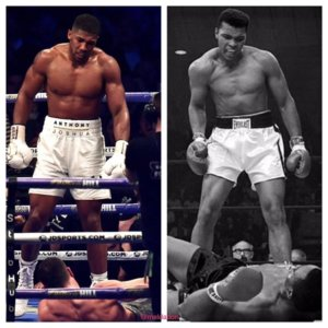 Anthony Joshua (kiri) dan Muhammad Ali (Kanan)/ Foto Istimewa/Nusantaranews