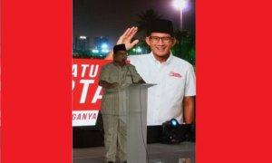 """Prabowo Subianto menyampaikan pidato """"Pesan Persatuan Jakarta"""" di acara syukuran kemenangan Anies-Sandi, Jum'at (5/5/2017) malam. Foto Reni Harti (Dokumentasi Pribadi)"""
