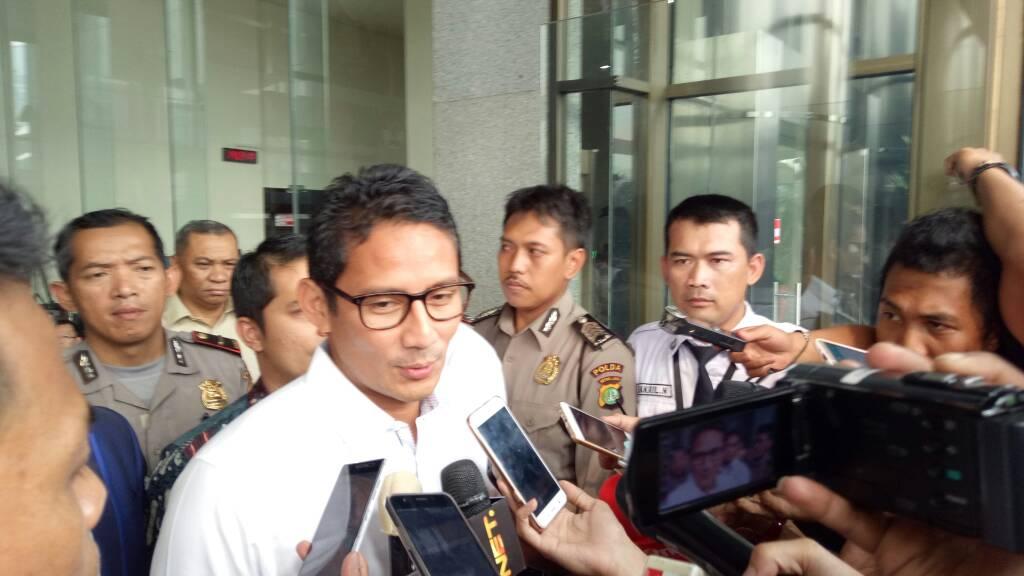 Sandiaga Uno usai bersaksi di KPK, Selasa (23/5/2017)/Foto: Restu Fadilah/Nusantaranews