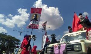 Ratusan buruh di Yogyakarta turun ke jalan memperingati Mayday yang jatuh pada Senin, 1 Mei 2017. Foto Eriec Dieda/ NUSANTARAnews