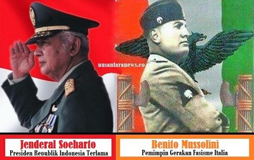 Jenderal Soeharto dan Benito Mussolini. Ilustrasi Foto: NUSANTARAnews