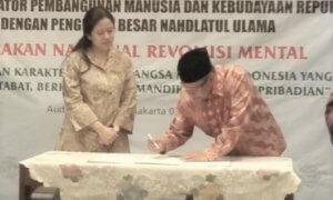 Menteri PMK dan Ketua PBNU tanda tangani MOU/Foto Ucok/Nusantaranews