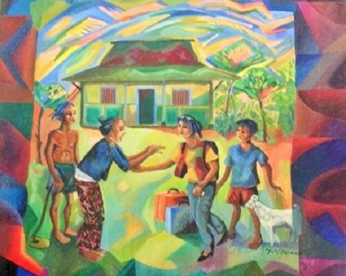 "A.Gumelar, ""Pulang Kampung"", Oil on Canvas, 70x70CM, dijual. Foto Istimewa"