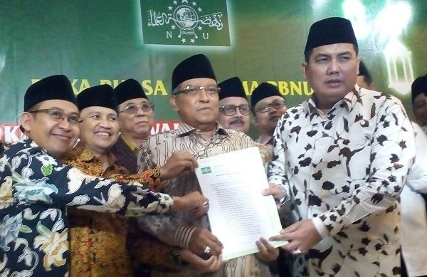 Said Aqil Siradj bersama Anggota PBNU/Foto Romandhon/Nusantaranews