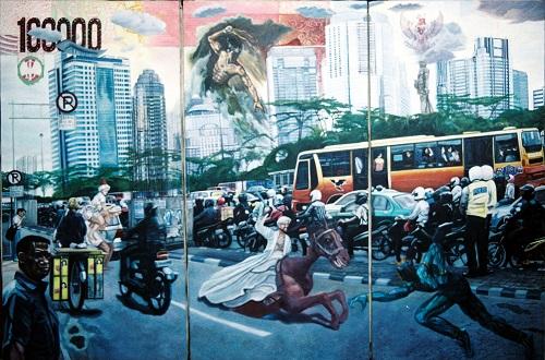 Kontroversi, pertentangan, kemacetan dan masalah ekonomi di Jakarta_Indonesia (2012)_karya tbrm arief z. Lukisan cat akrilik di kanvas 3 panel. Foto: artsindividu.wordpress.com