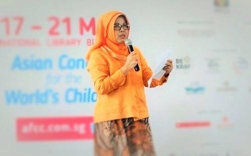 Nana Ernawati di acara Asian Festival of Children's Content, 17-21 Mei 2017, di Singapura (Ilustrasi). Foto: Dok. LSS Reboeng