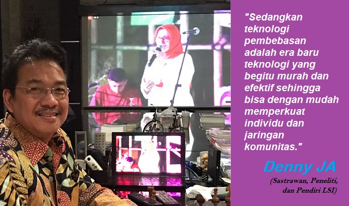 Denny JA sedang Live Streaming pentas seni SELACI. Foto: Foto Dok. Pribadi/ Ilustasi: NUSANTARANEWS.CO