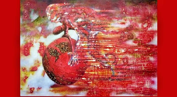 HUNTING DOWN THE TIMEMixed media on canvas, 100 x 140 cm, 2011. Foto: Dok. Jago Tarung Yogyakarta (blog)