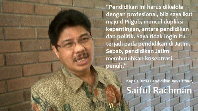 Kepala Dinas Pendidikan Jawa Timur Saiful Rachman. Foto Tri Wahyudi/ Ilustrasi: NUSANTARANEWS.CO
