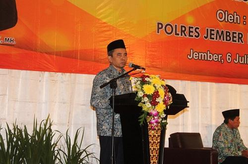 acara Sosialisasi Ancaman Terorisme dan Pencegahannya yang digelar Polres Jember, di Hall New Sari Utama Jember, Kamis (06/07/2017). Foto Sis24/ NUSANTARANEWS.CO
