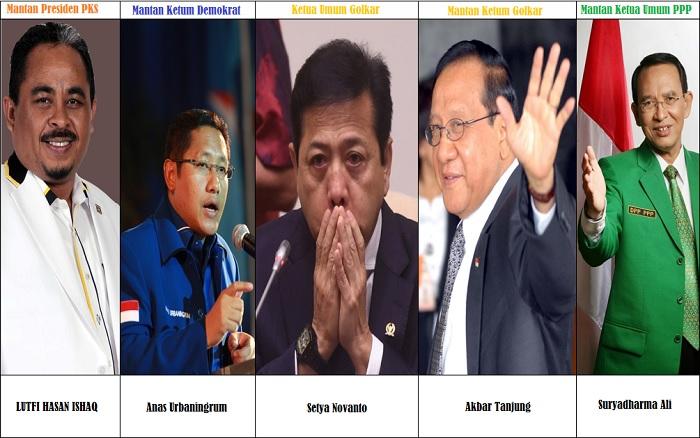 Lima Ketum Partai Tersandung Korupsi (Ilustrasi). Foto: NUSANTARANEWS.CO