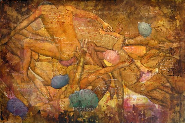 "Priyaris Munandar (Aris) ""Mencari Mercusuar"", Acrylic on canvas, 145 x 220 cm, 2010. Foto: Dok Jago Tarung Yogyakarta (blog)."
