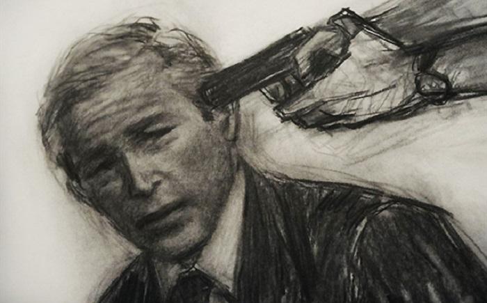 Mantan presiden AS George W. Bush dihunus pistol di kepalanya. Foto: Dok. DetikForum
