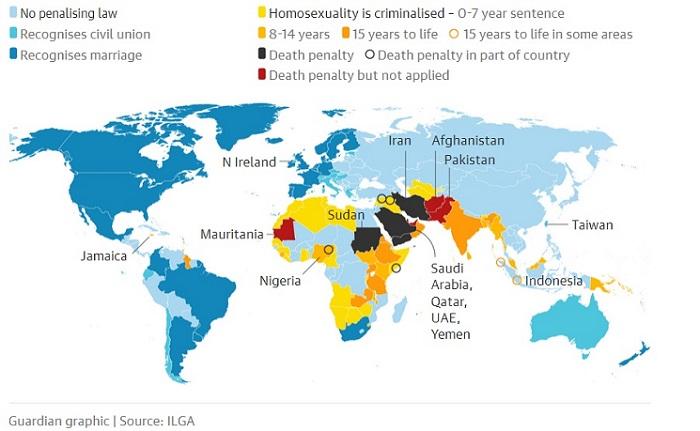 Sikap negara2 terhadap LGBT. Foto: Dok The Guardian