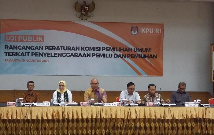 Uji publik rancangan peraturan KPU di kantor KPU Jl. Majapahit, Jakarta Pusat, Selasa (15/8/2017). Foto Syaefuddin A