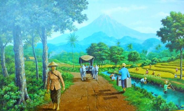 Aktivitas Orang Desa di Sawah. Lukisan: DOk. caesarvery.com
