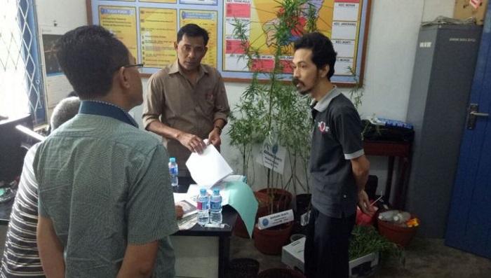 Fidelis Ari Sidarwoto saat diamankan BNN karena menanam Ganja untuk obat penyakit sang istri. Foto: Dok. thetanjungpuratimes.com